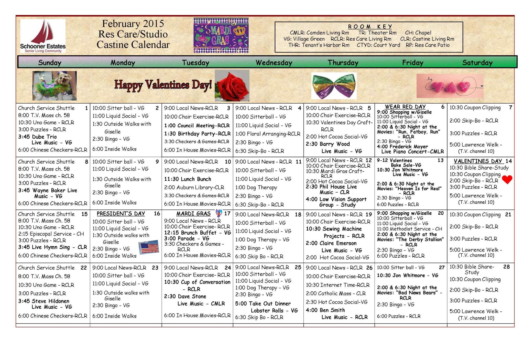 02 Res Care February Calendar 2015