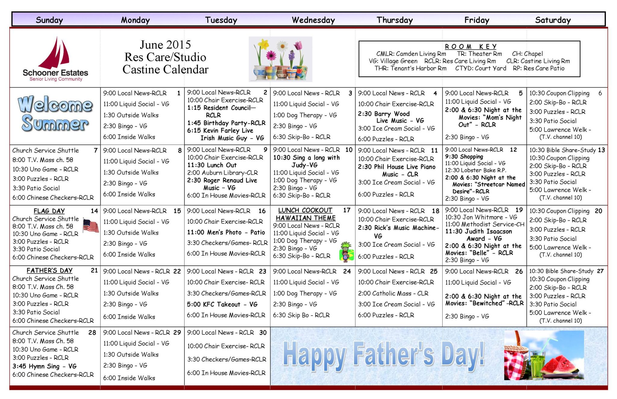 June 2015 Assisted Living/Residential Care Calendar