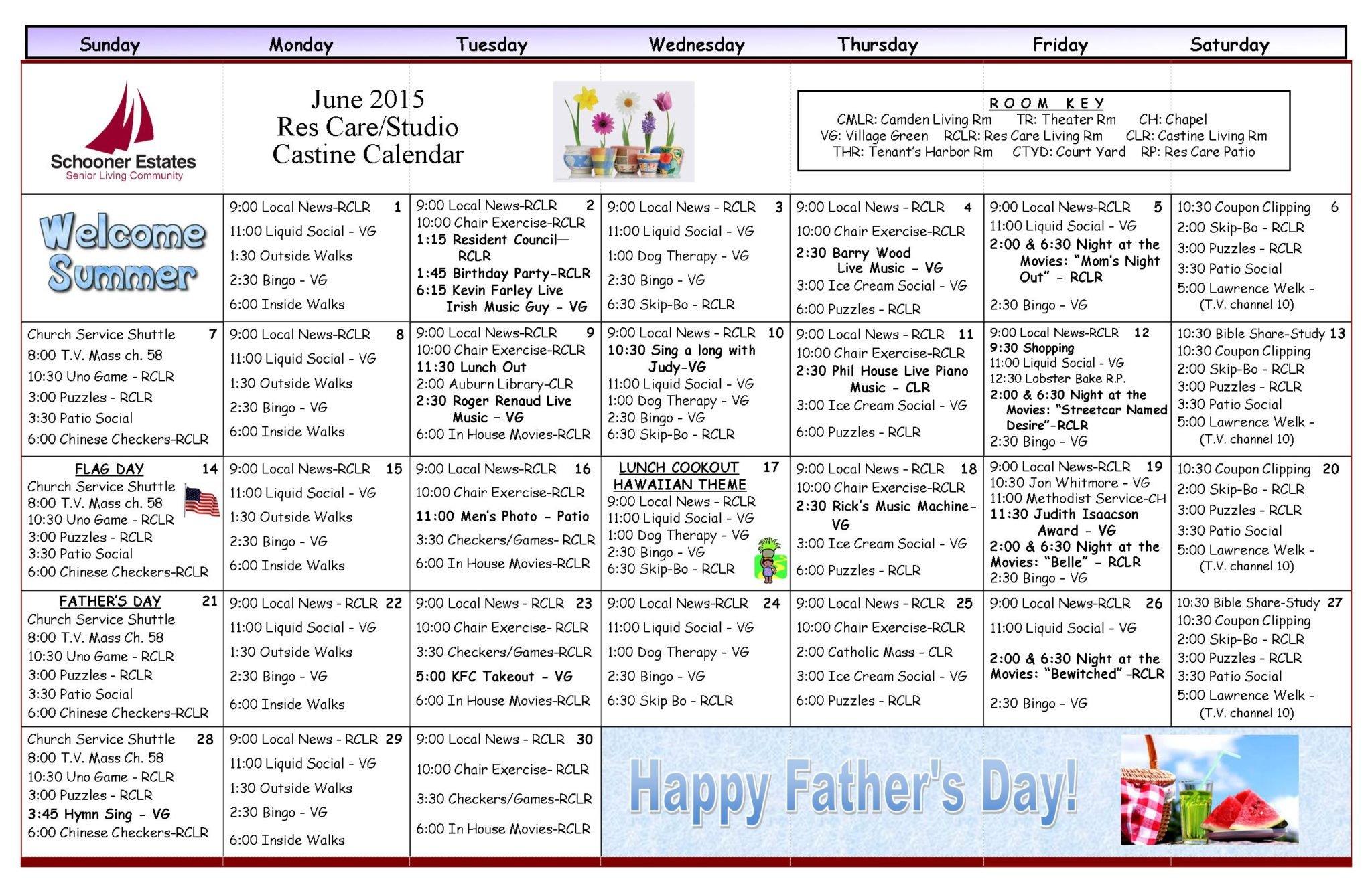 Calendar Ideas For June : June activity calendars