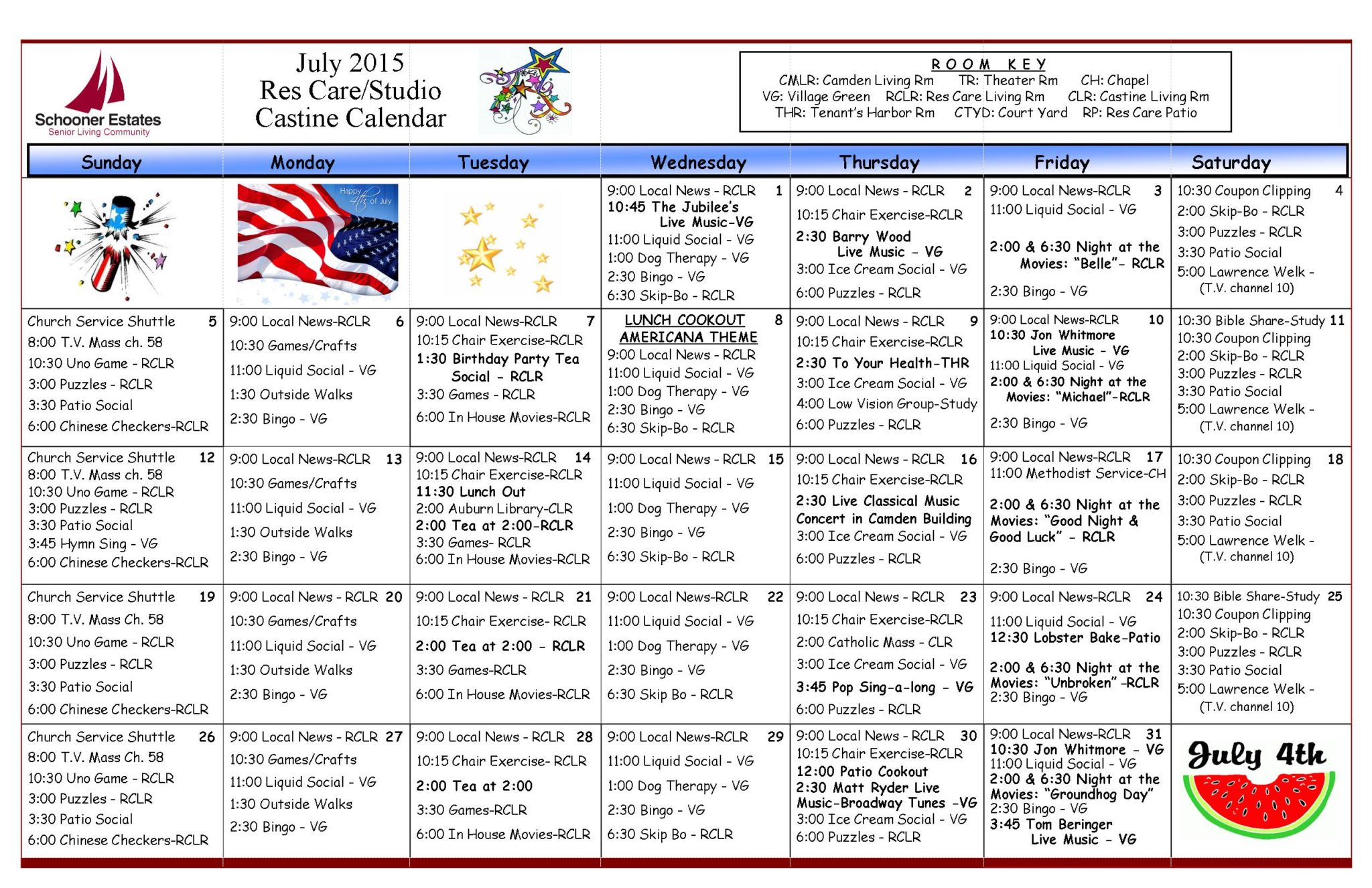July 2015 Assisted Living and Residential Care Activity Calendar