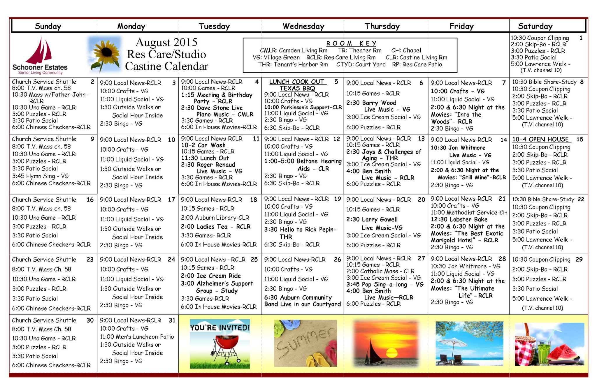 August 2015 Assisted Living and Residential Care Activity Calendar