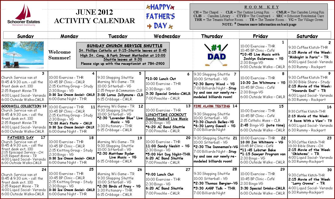 Calendar Ideas For June : June activity calendar