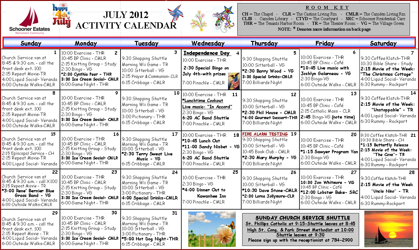 Calendar Ideas For July : July calendars