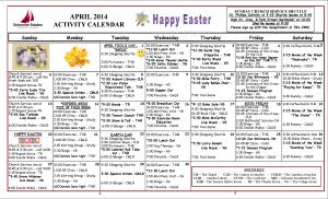 Activities Calendar April 2014