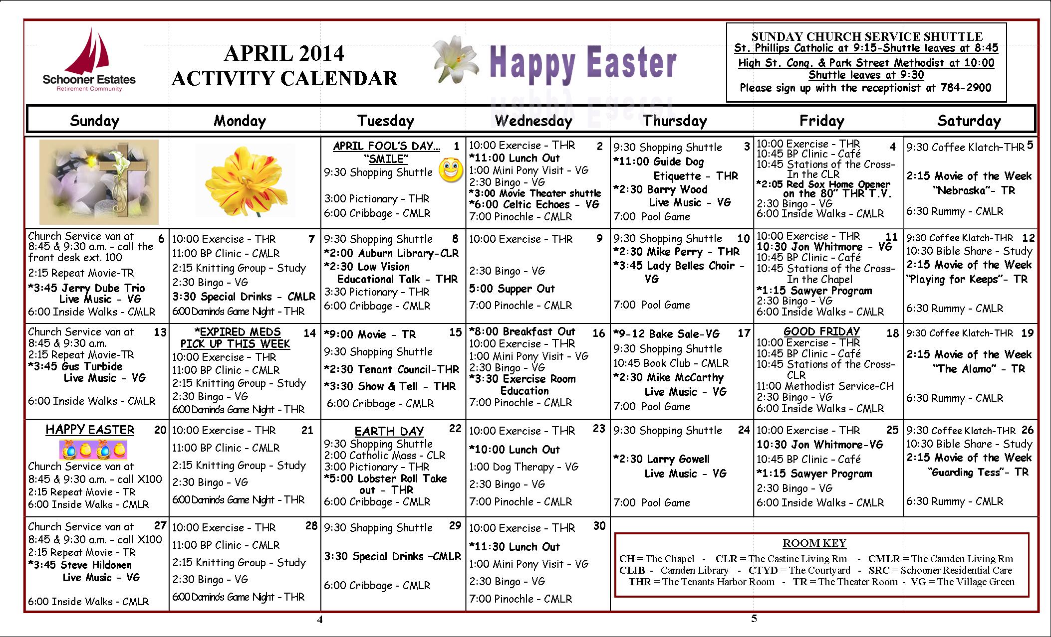 April Calendar Questions : Activities calendar april