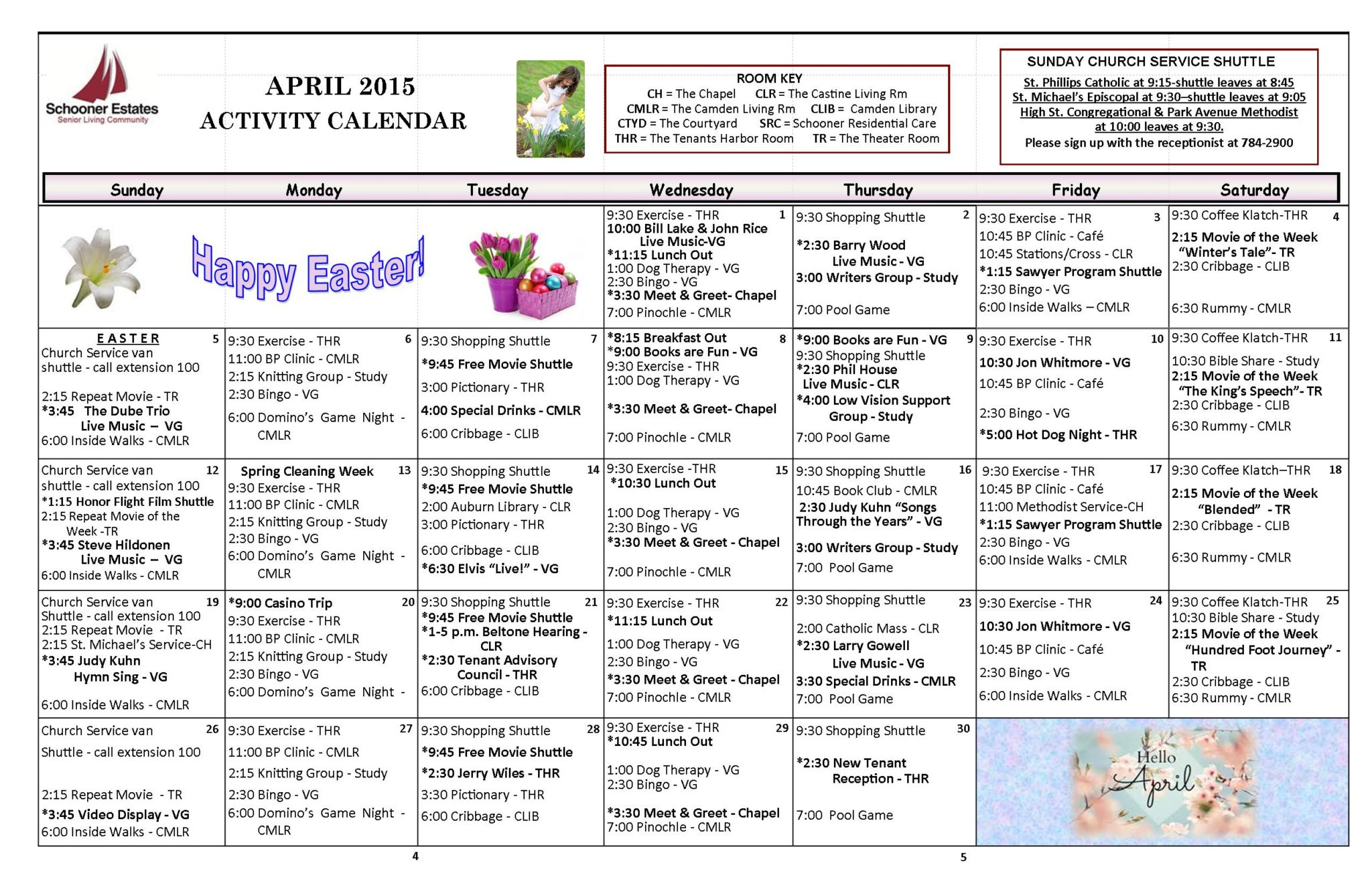 April 2015 activity calendar