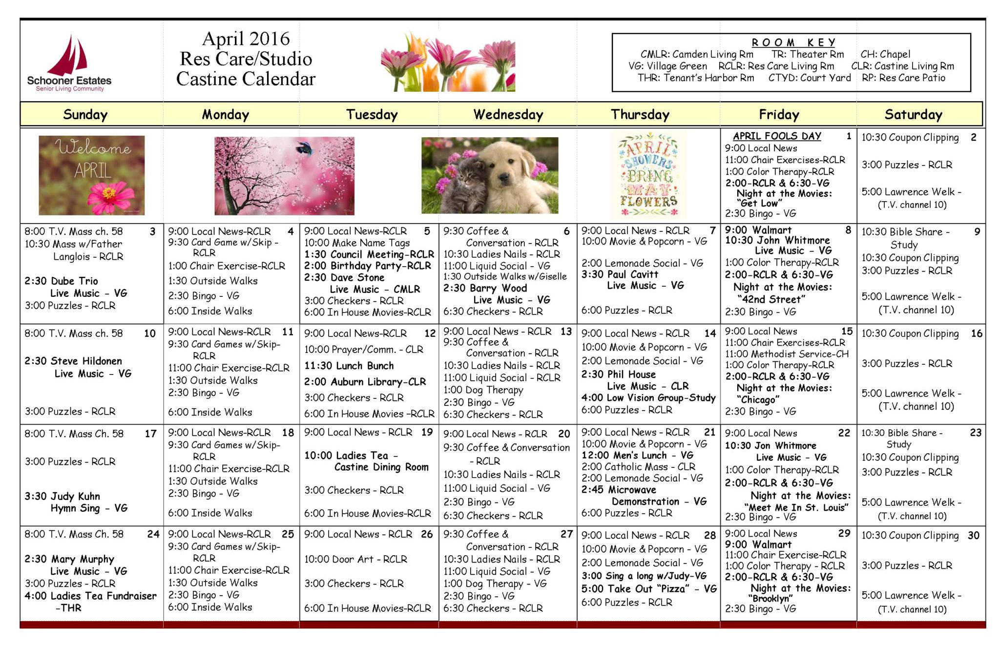 April 2016 Assisted Living and Residential Care Activity Calendar