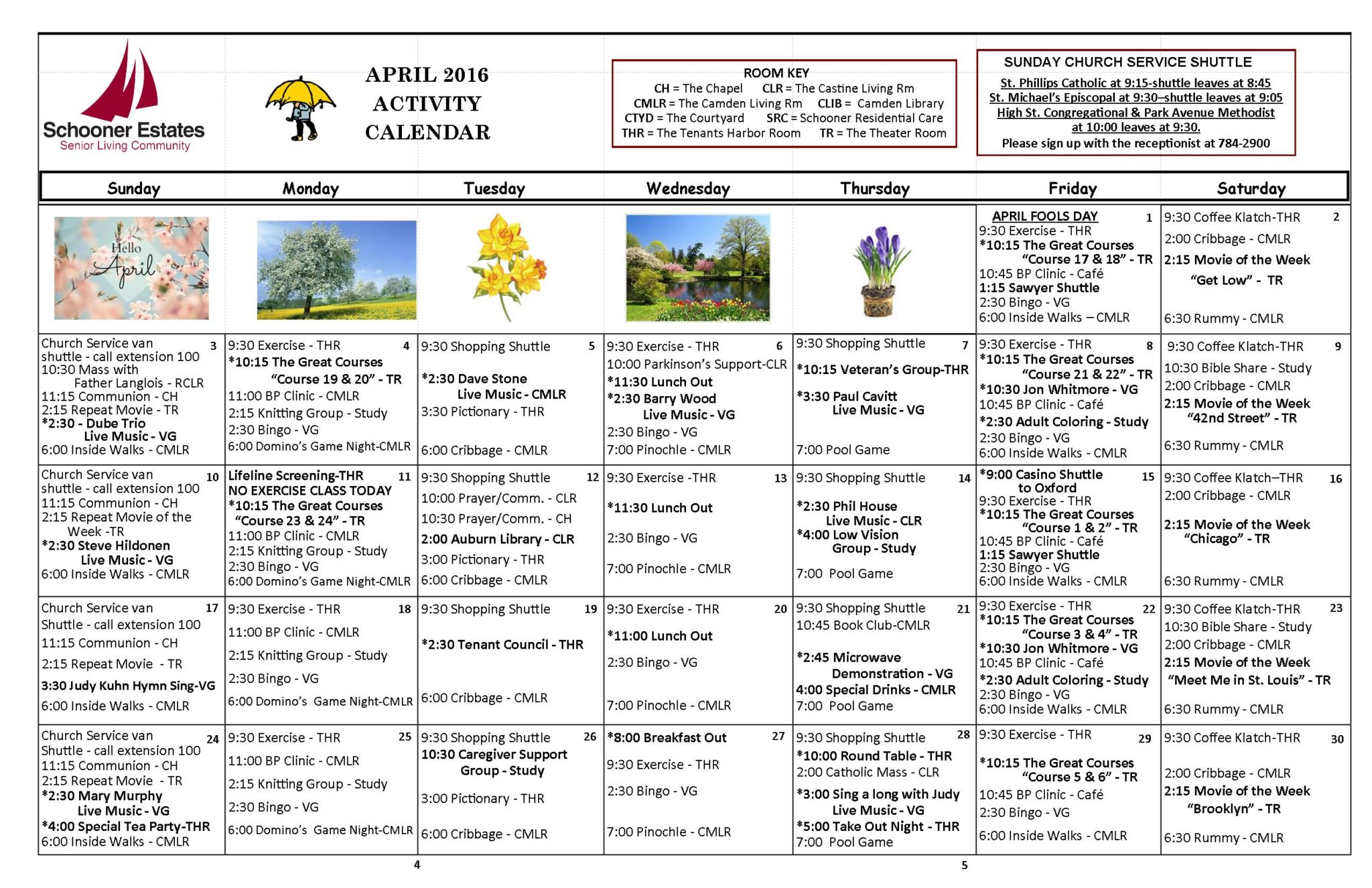 April 2016 Independent Living Activity Calendar