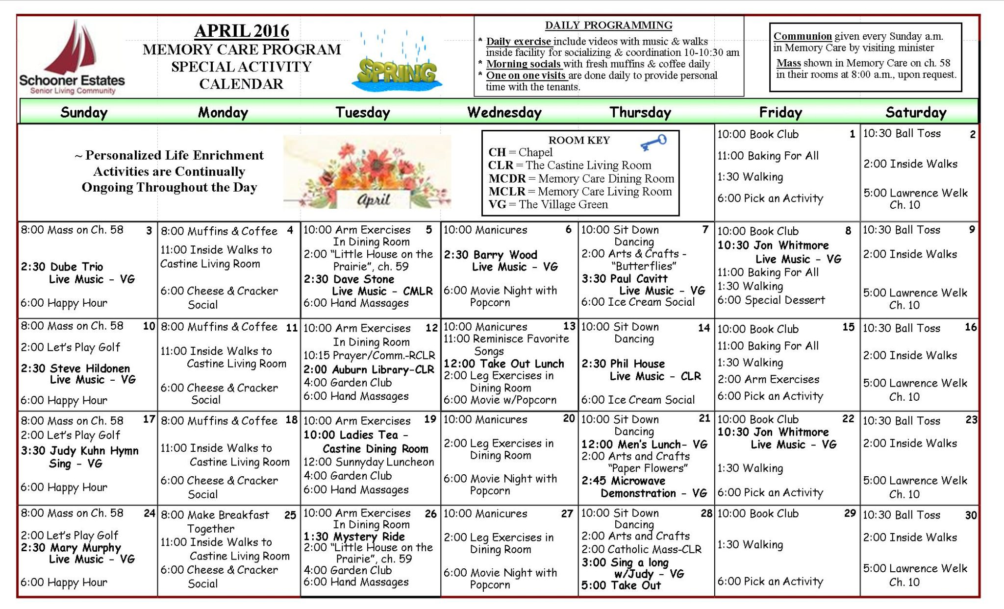 April 2016 Memory Care Activity Calendar