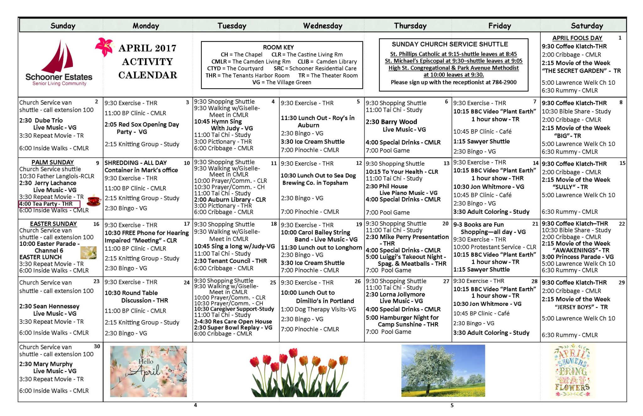Calendar April Events : Calendar of events