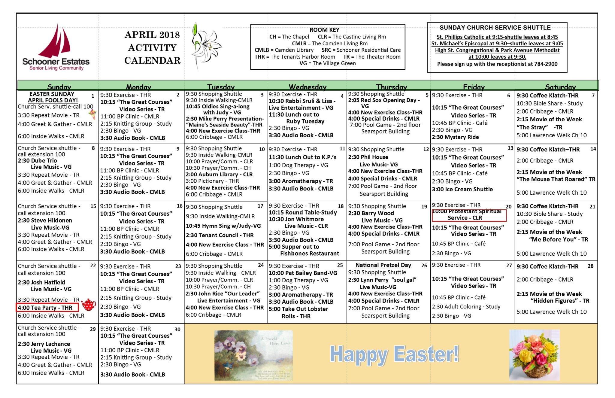 Calendar Activities 2018 : April schooner estates activity calendars