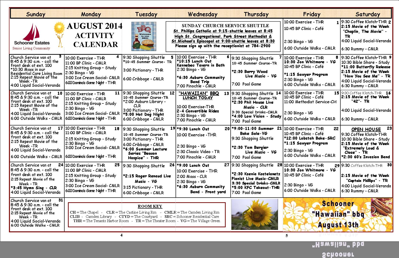 August 2014 Camden Activity Calendar