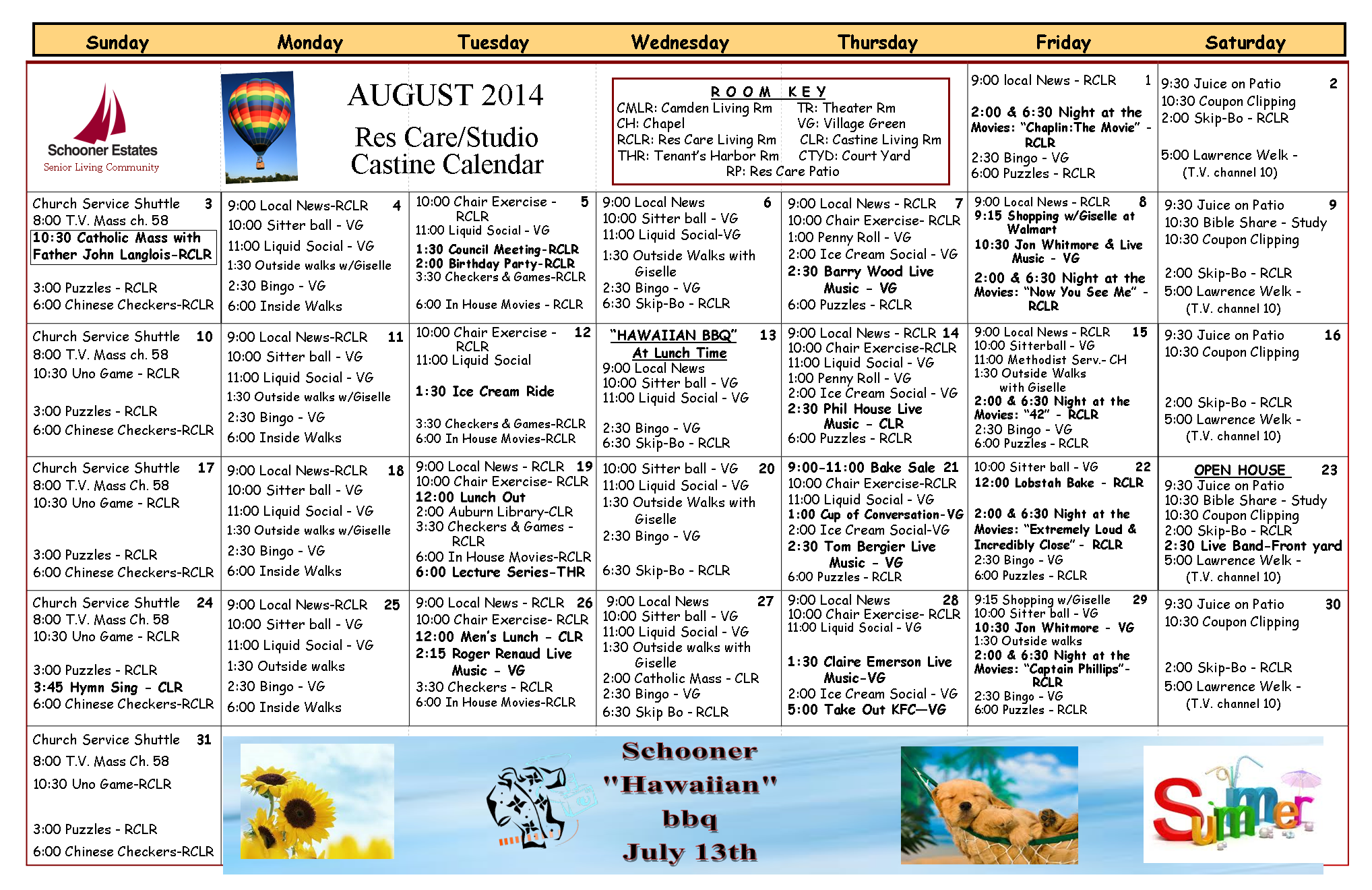 August 2014 Castine and Residential Care Calendar