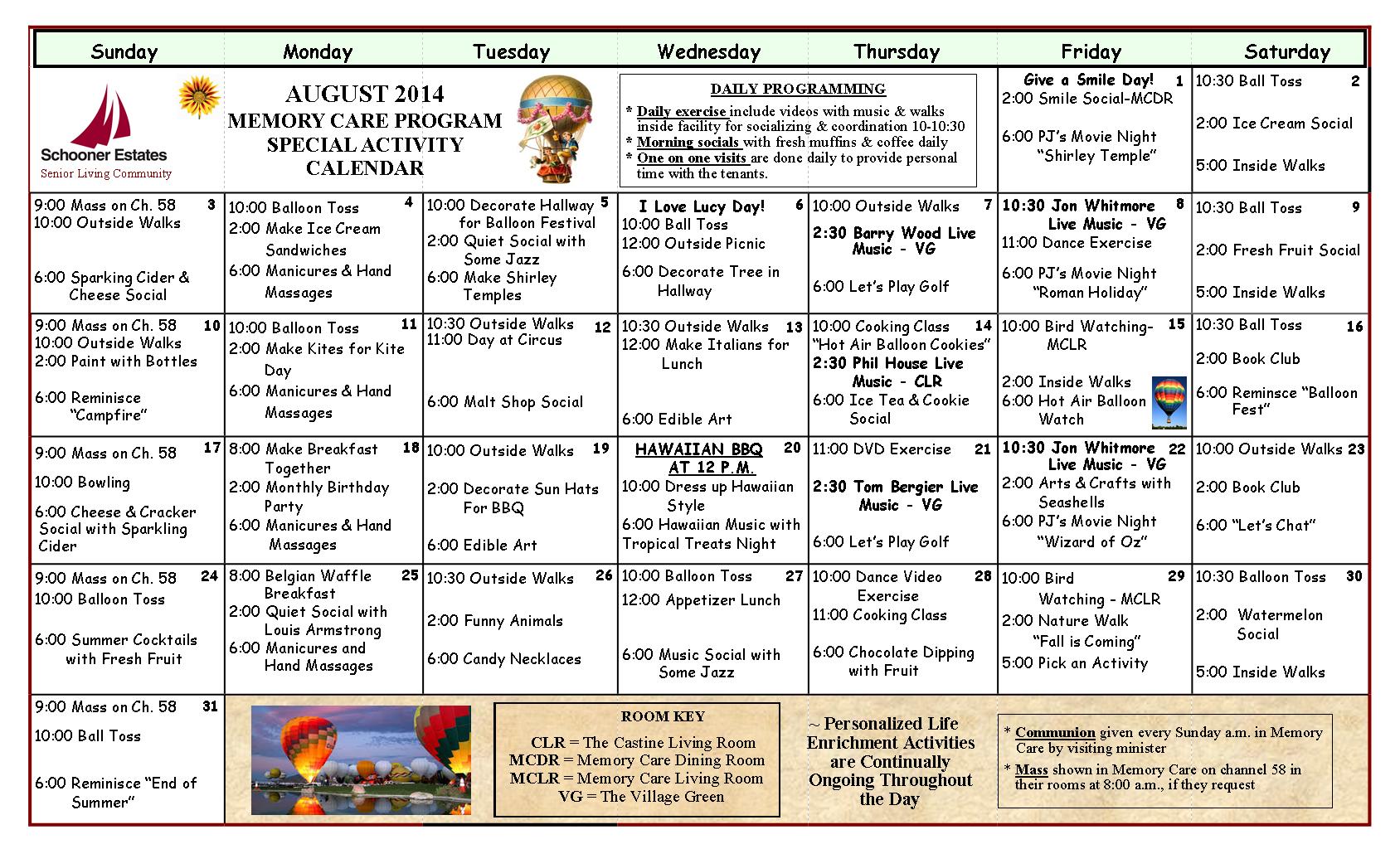 August 2014 Memory Care Calendar