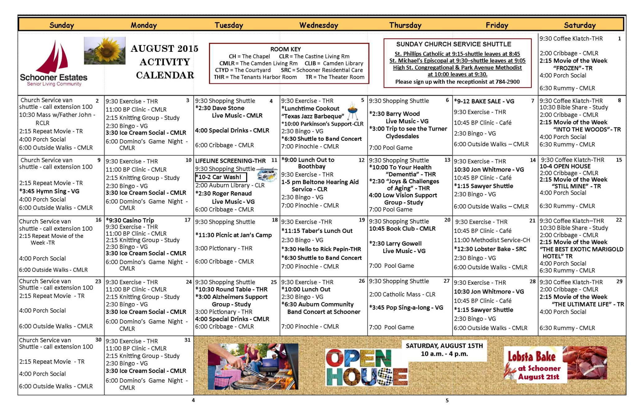 August 2015 Independent Living Activity Calendar