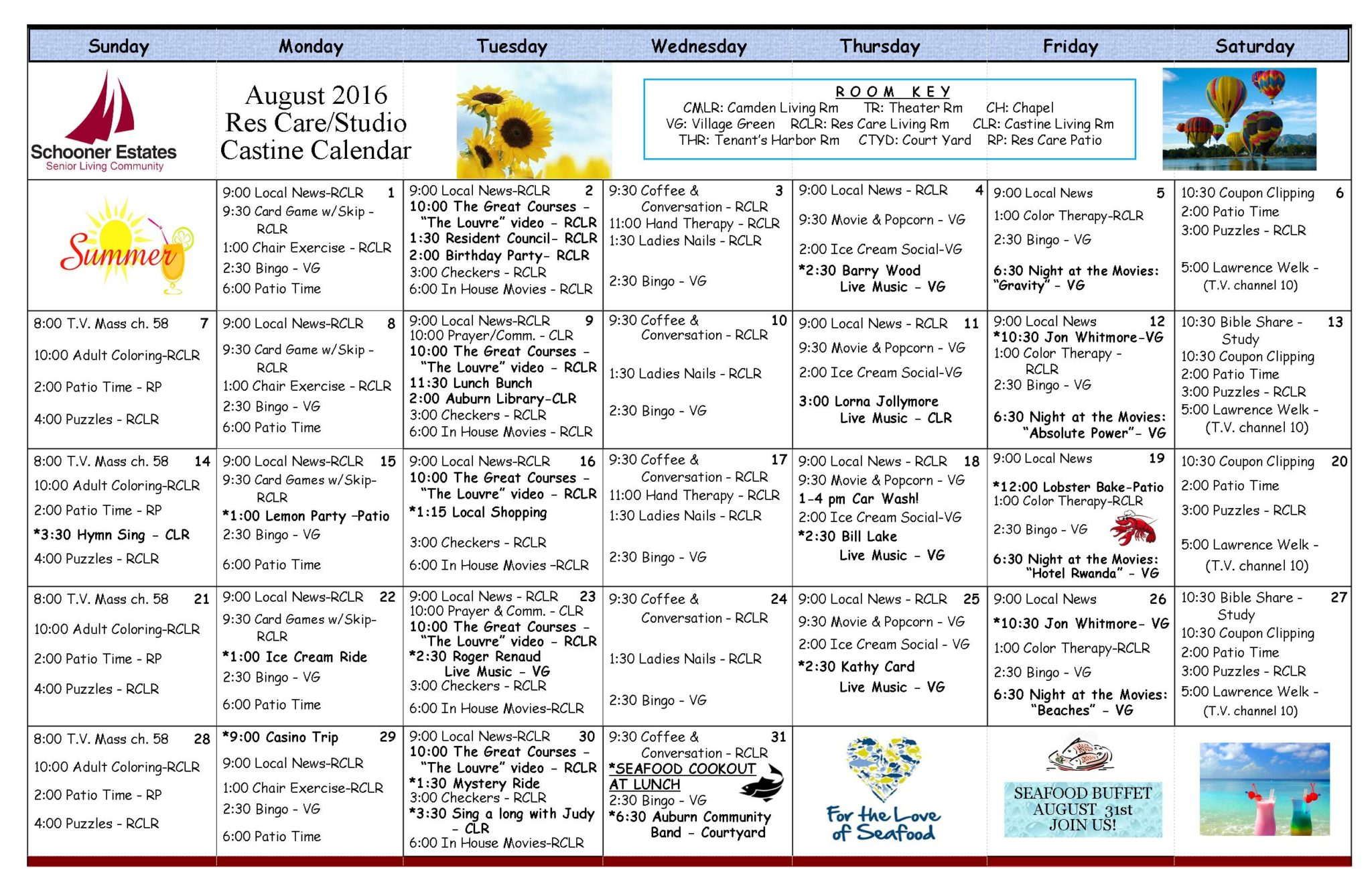 August 2016 Assisted Living Residential Care Activity Calendar
