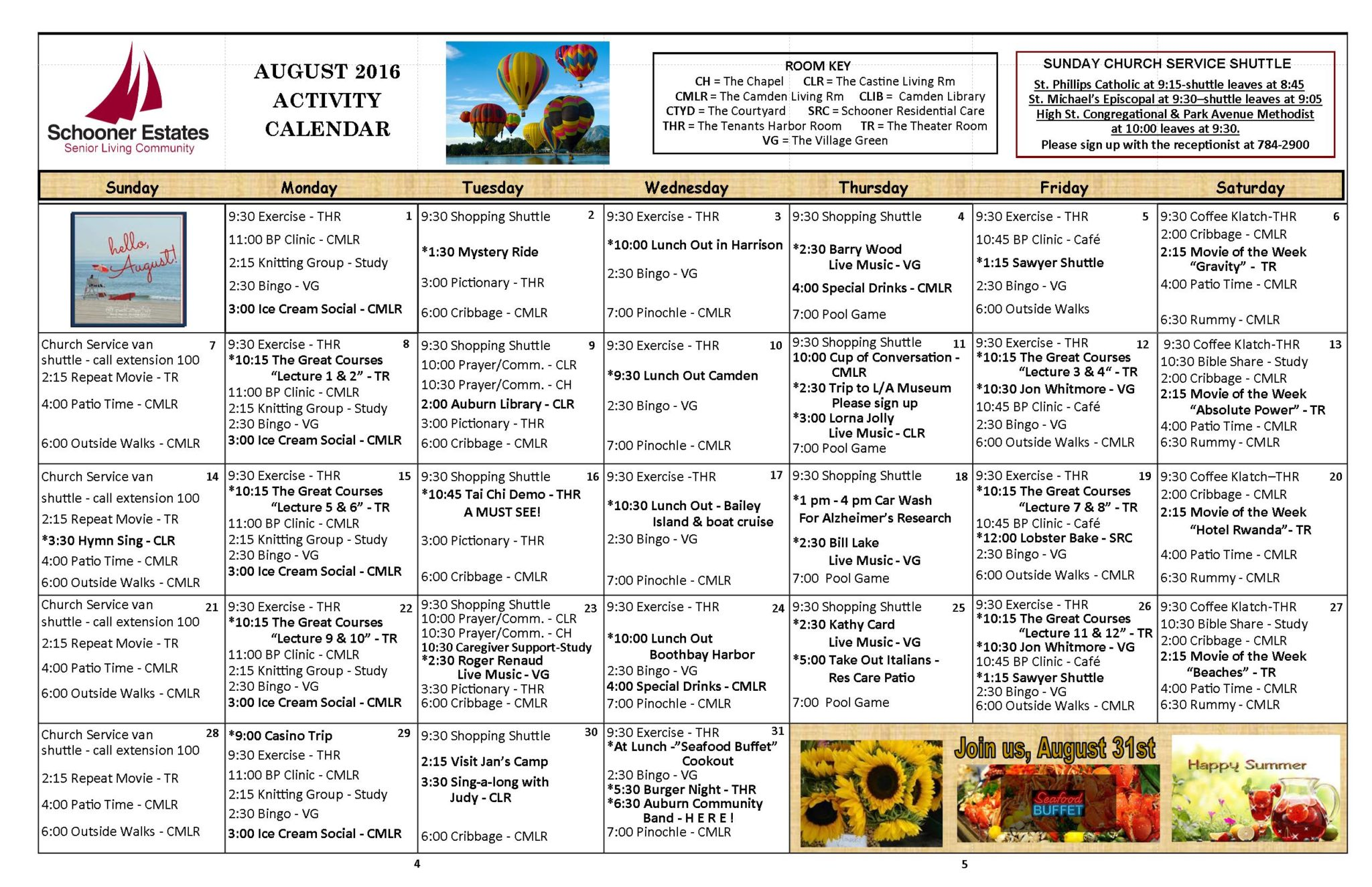 August 2016 Independent Living Activity Calendar