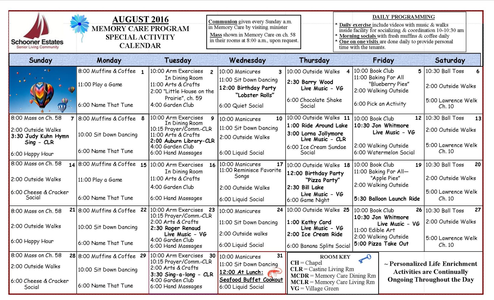 August 2016 Memory Care Activity Calendar