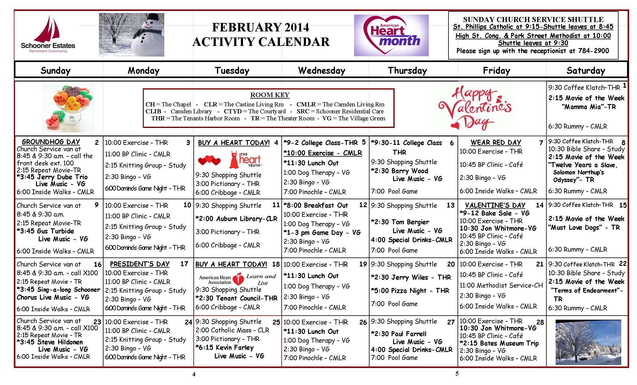 Camden February 2014 Calendar