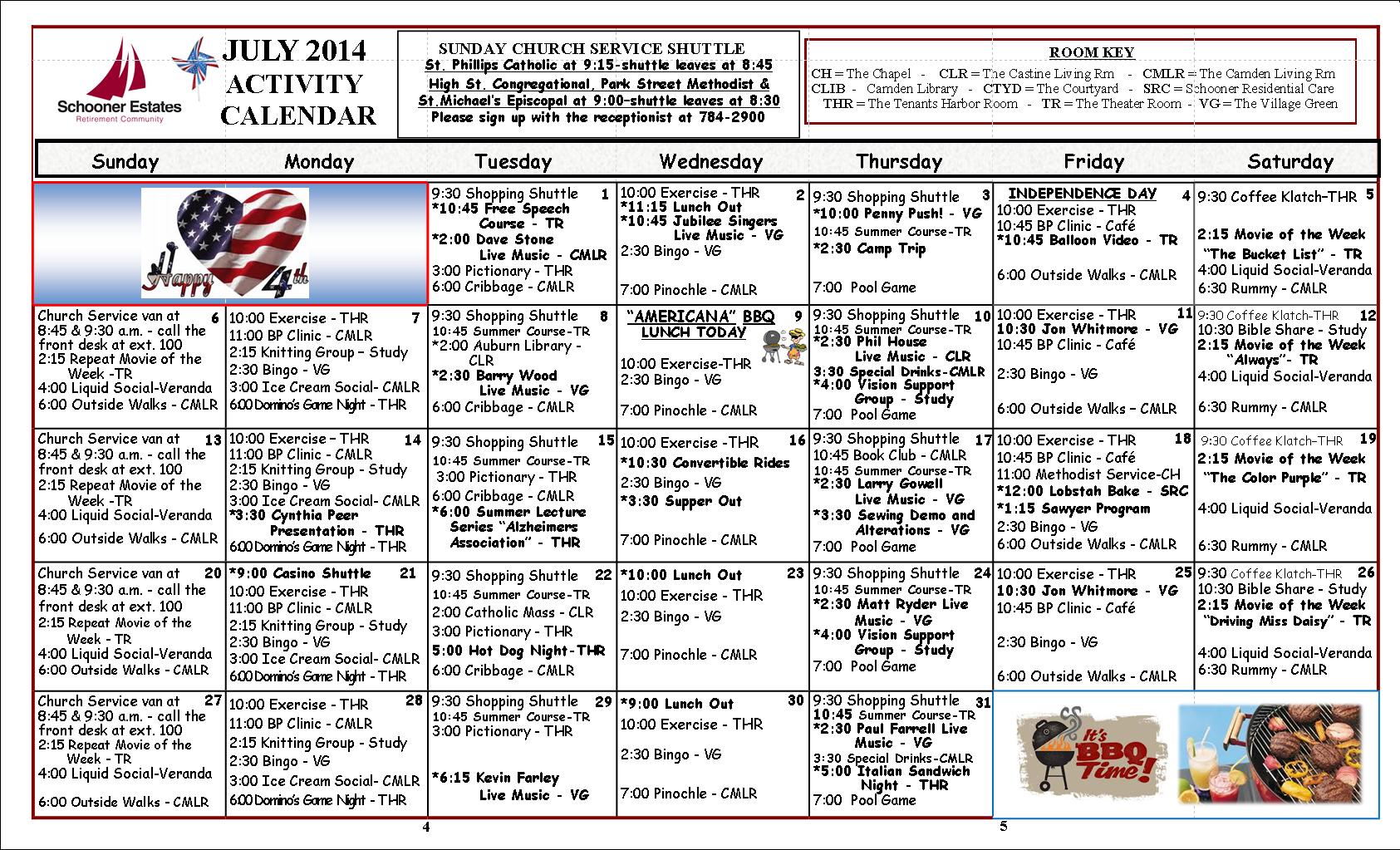 Camden July 2014 Calendar