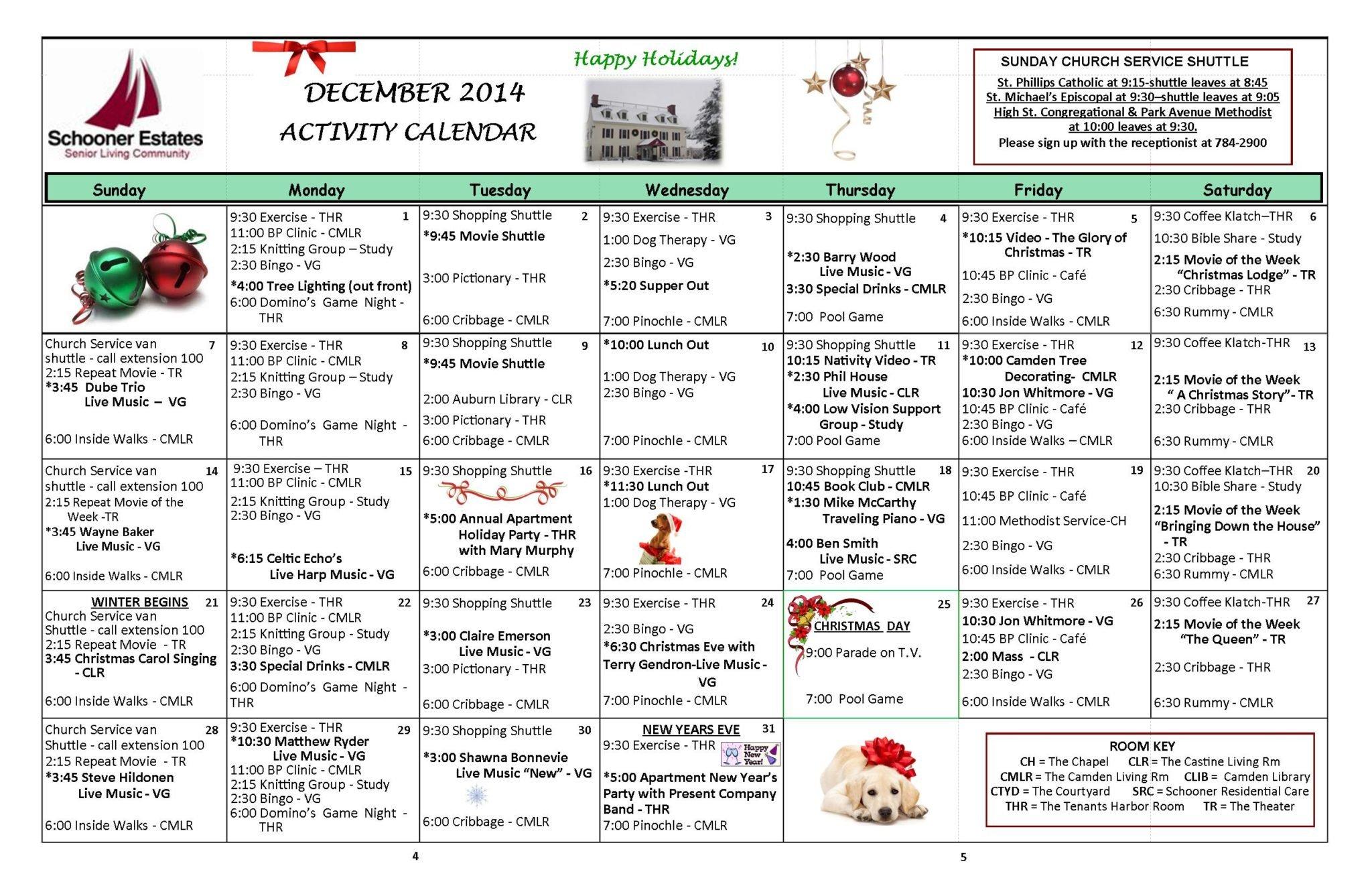 December 2014 activity calendar