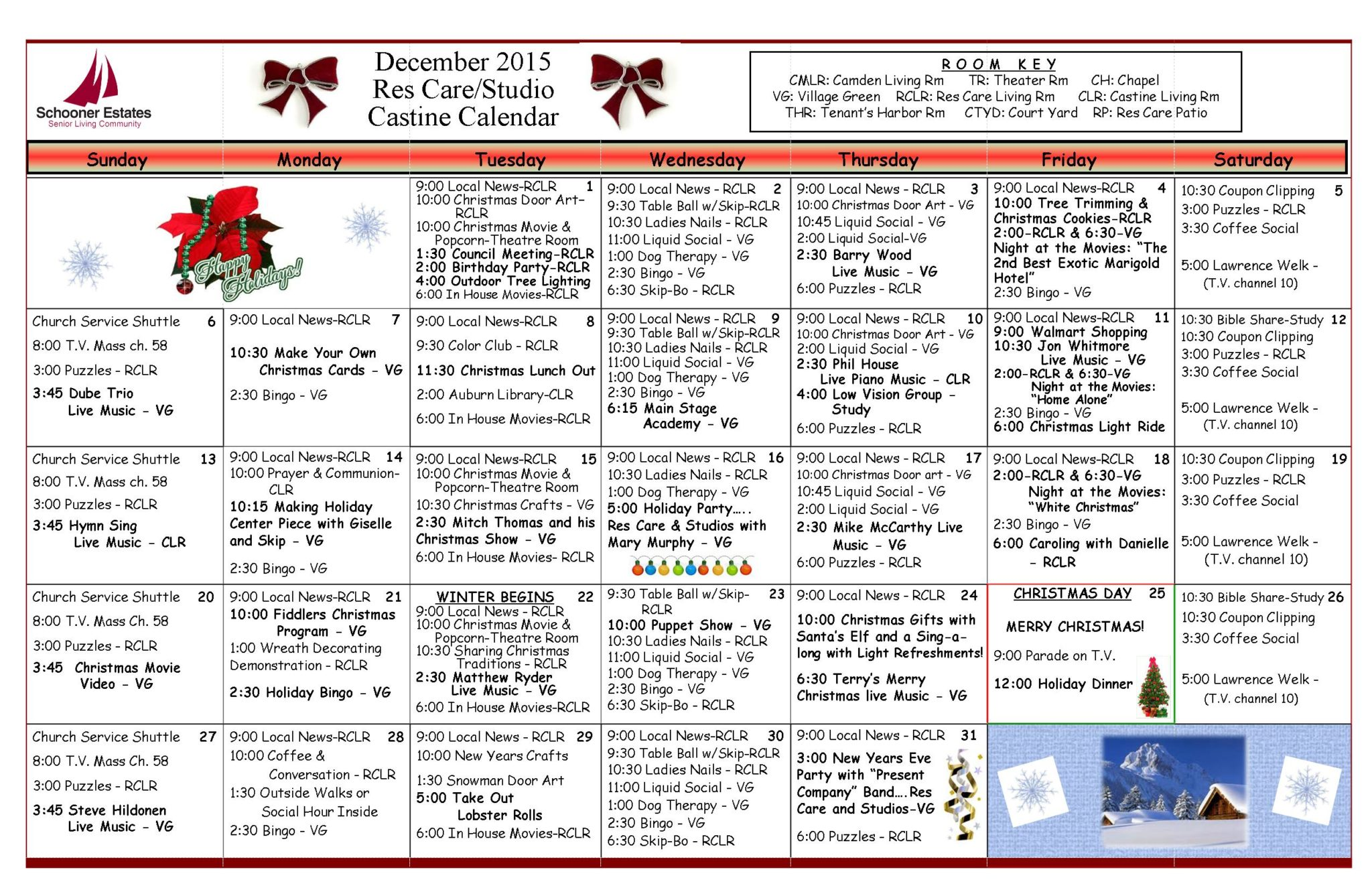 December 2015 activity calendars for Assisted living activity calendar template