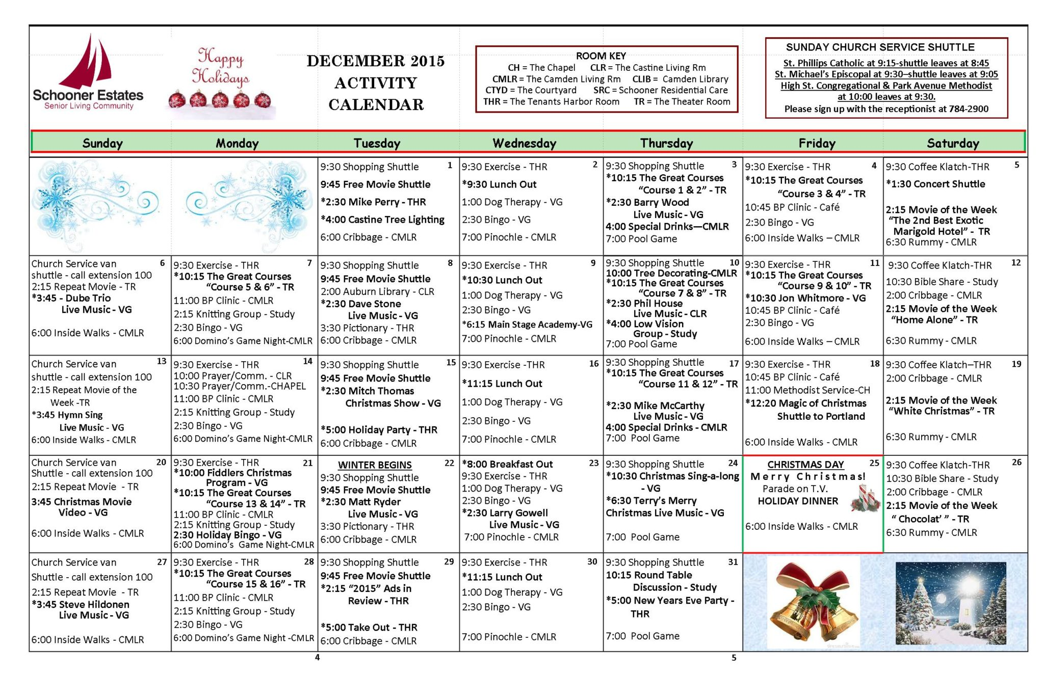 December 2015 Independent Living Activity Calendar