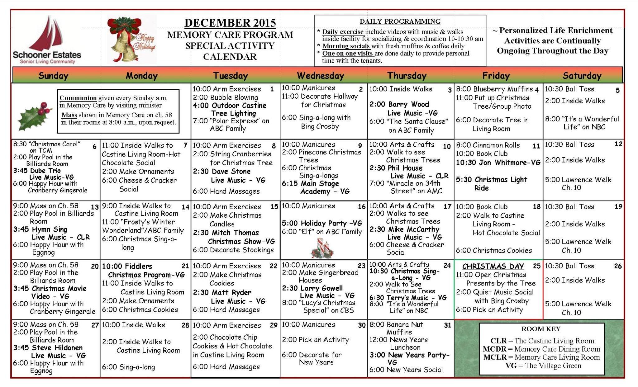 December 2015 Memory Care Activity Calendar