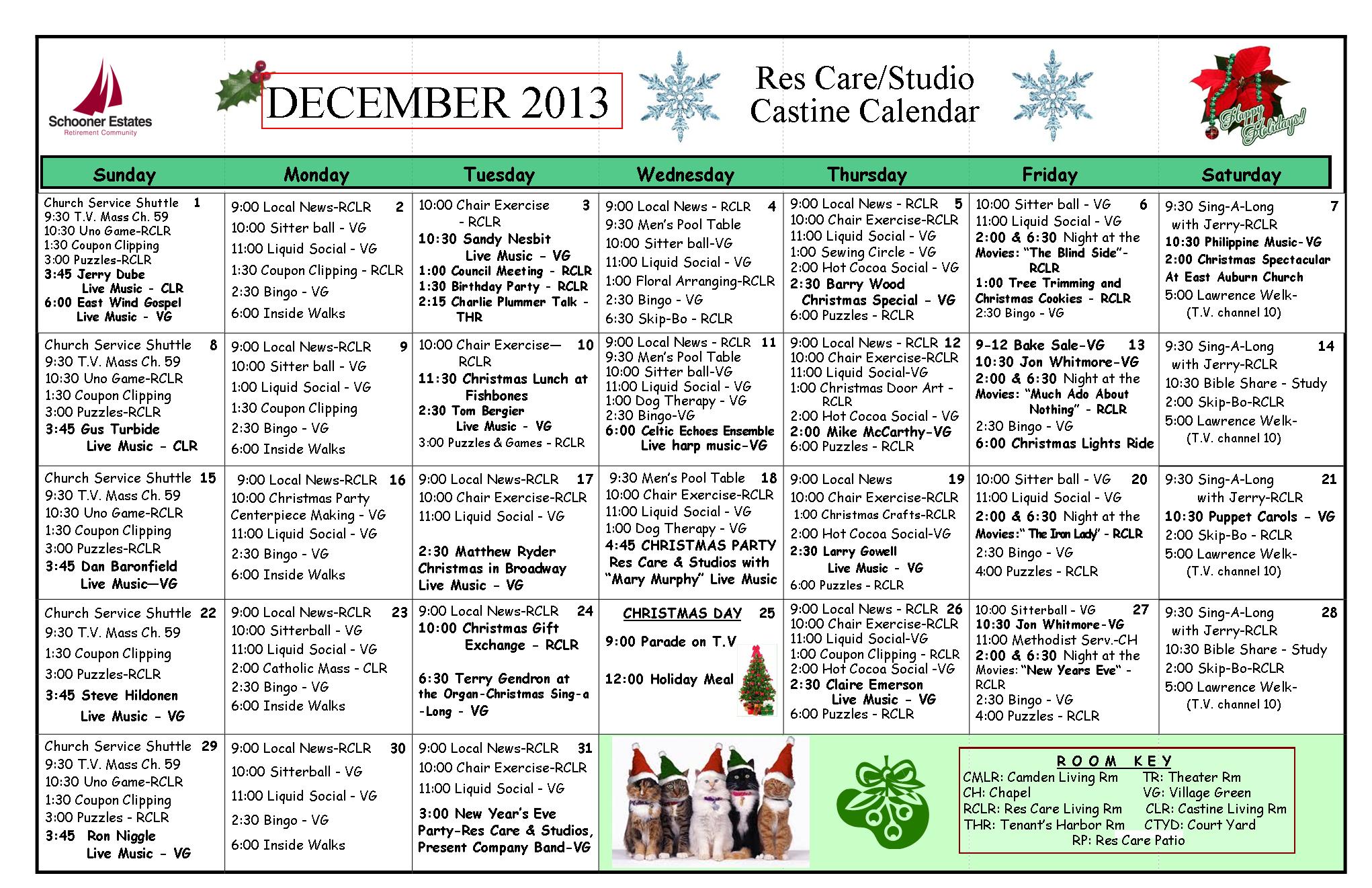 Calendar Ideas For Nursing Homes : Schooner december calendars
