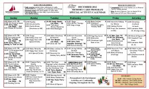 December Memory Care Calendar