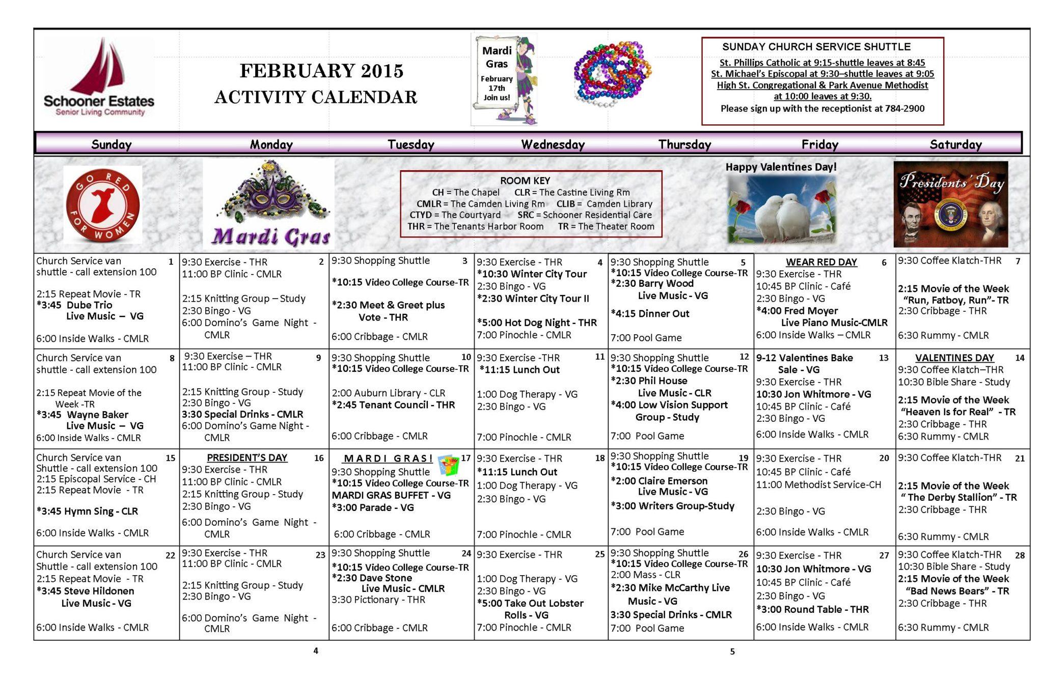 February 2015 activity calendar