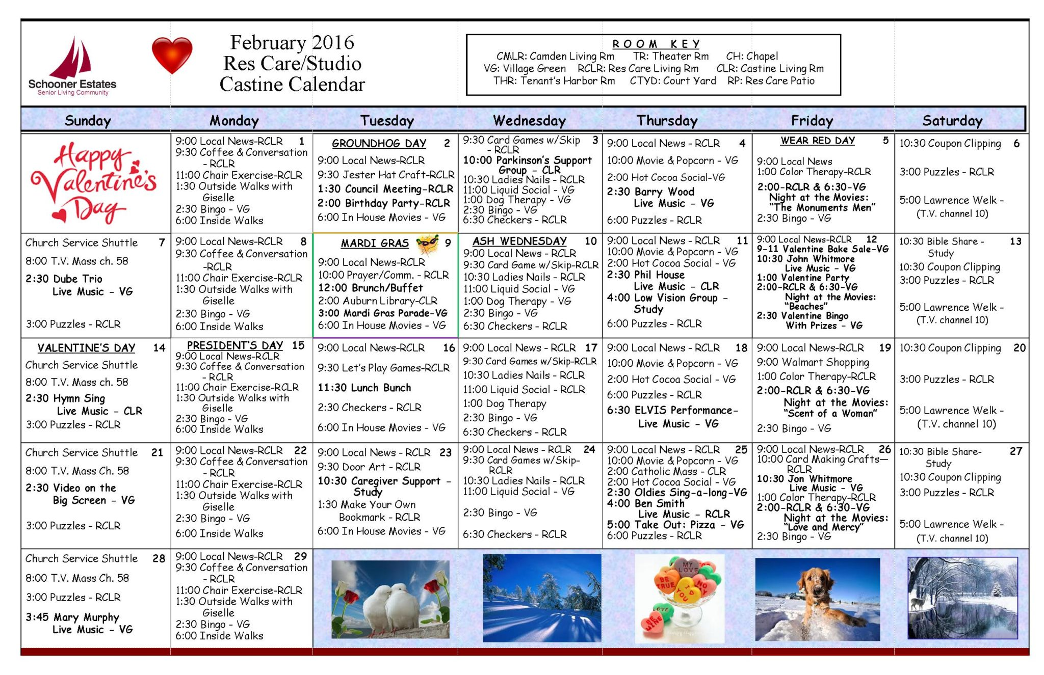 February 2016 Assisted Living and Residential Care Activity Calendar
