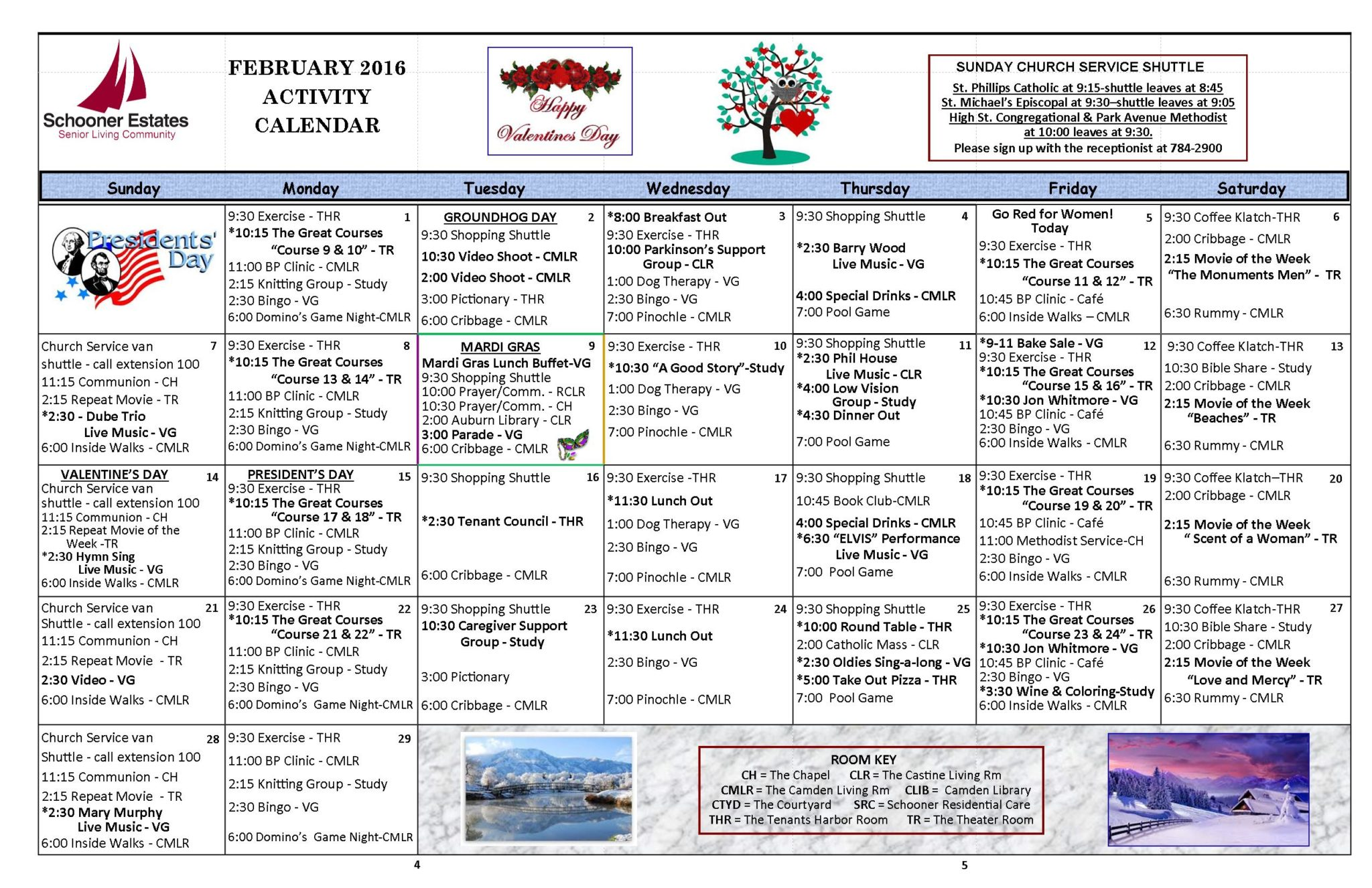 February 2016 Independent Living Activity Calendar