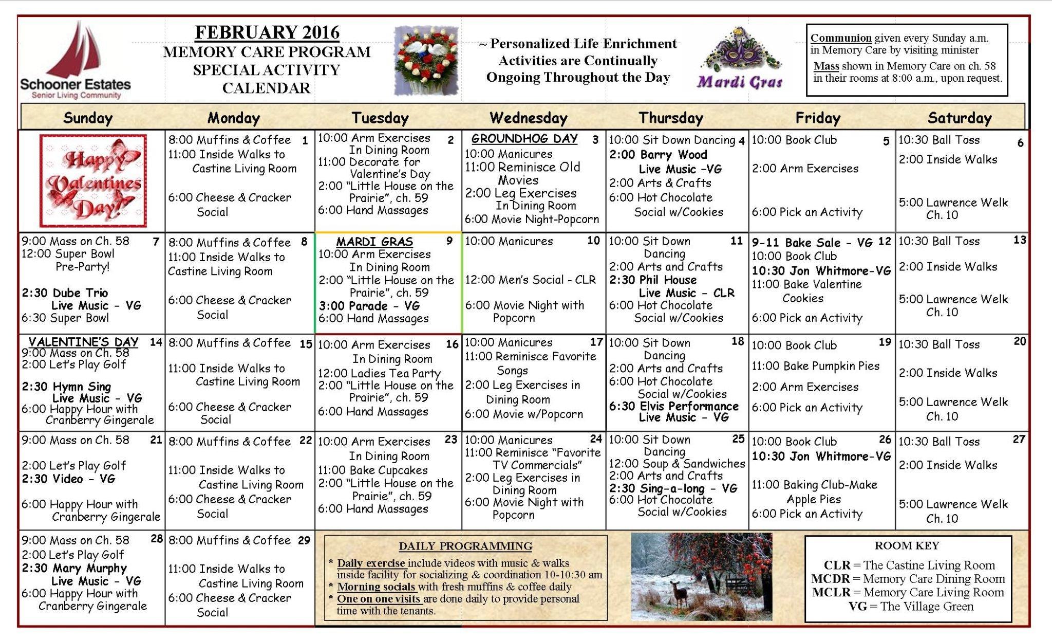 February 2016 Memory Care Activity Calendar