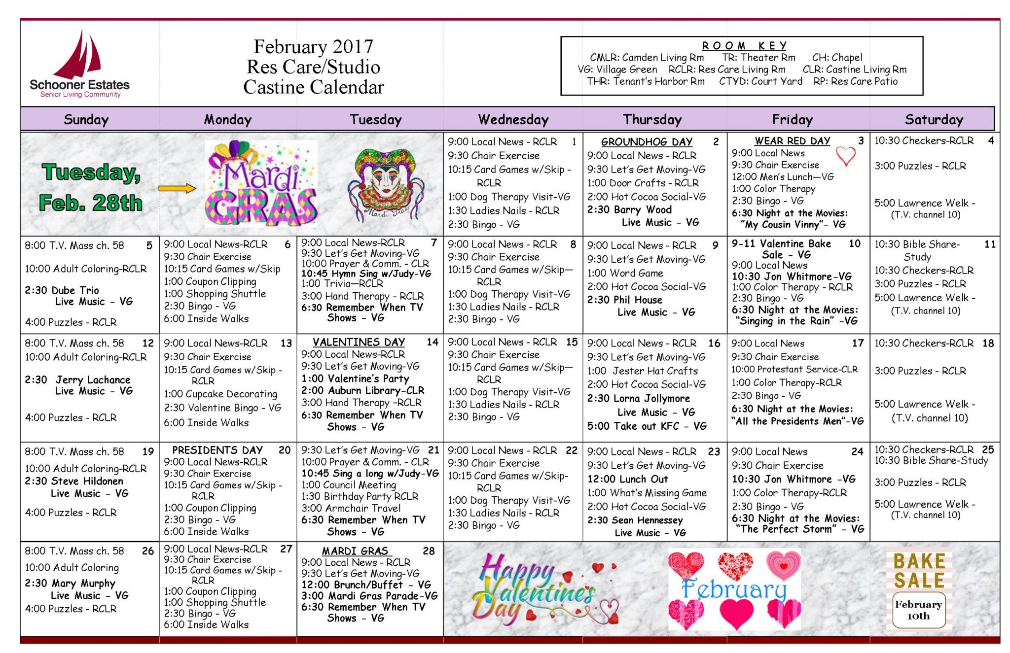 assisted living activity calendar template - printable february 2018 calendar february month in a year