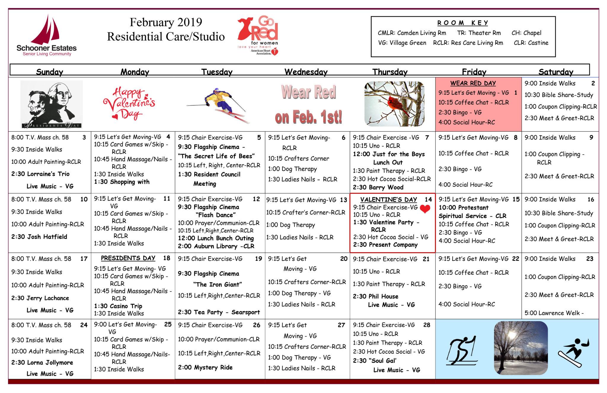 Senior Activity Calendar For February 2019 Activity Calendars