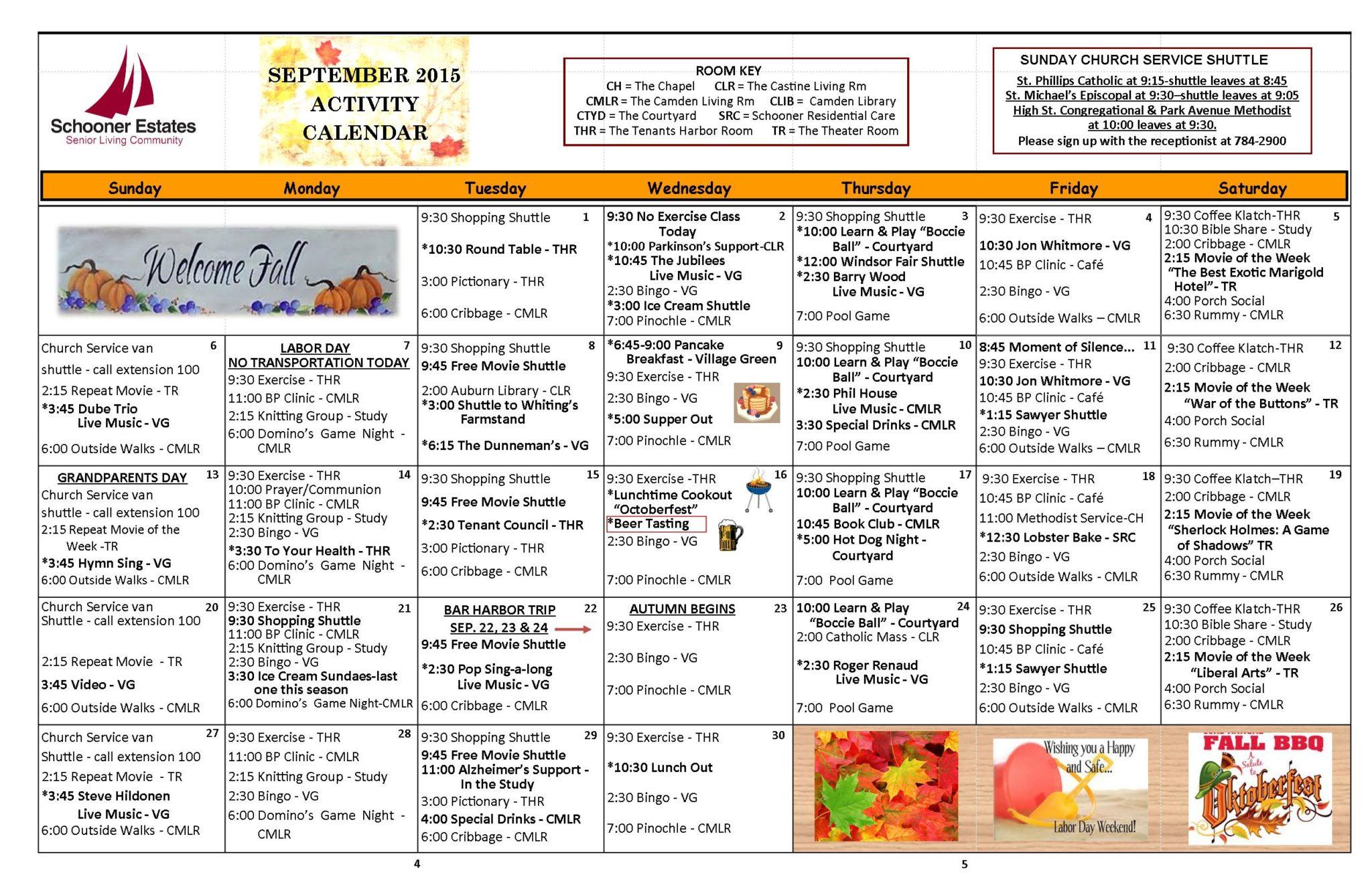 September 2015 Independent Living Calendar