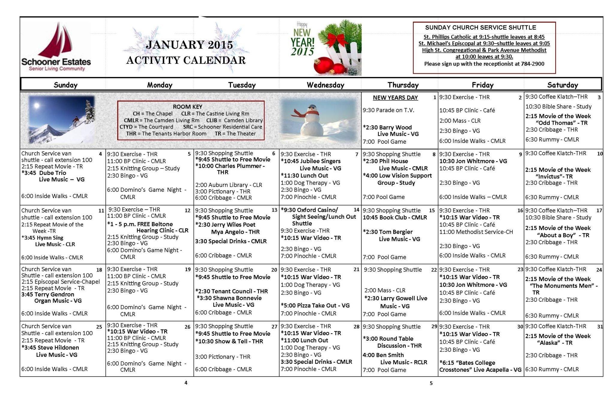 January 2015 Activity Calendars