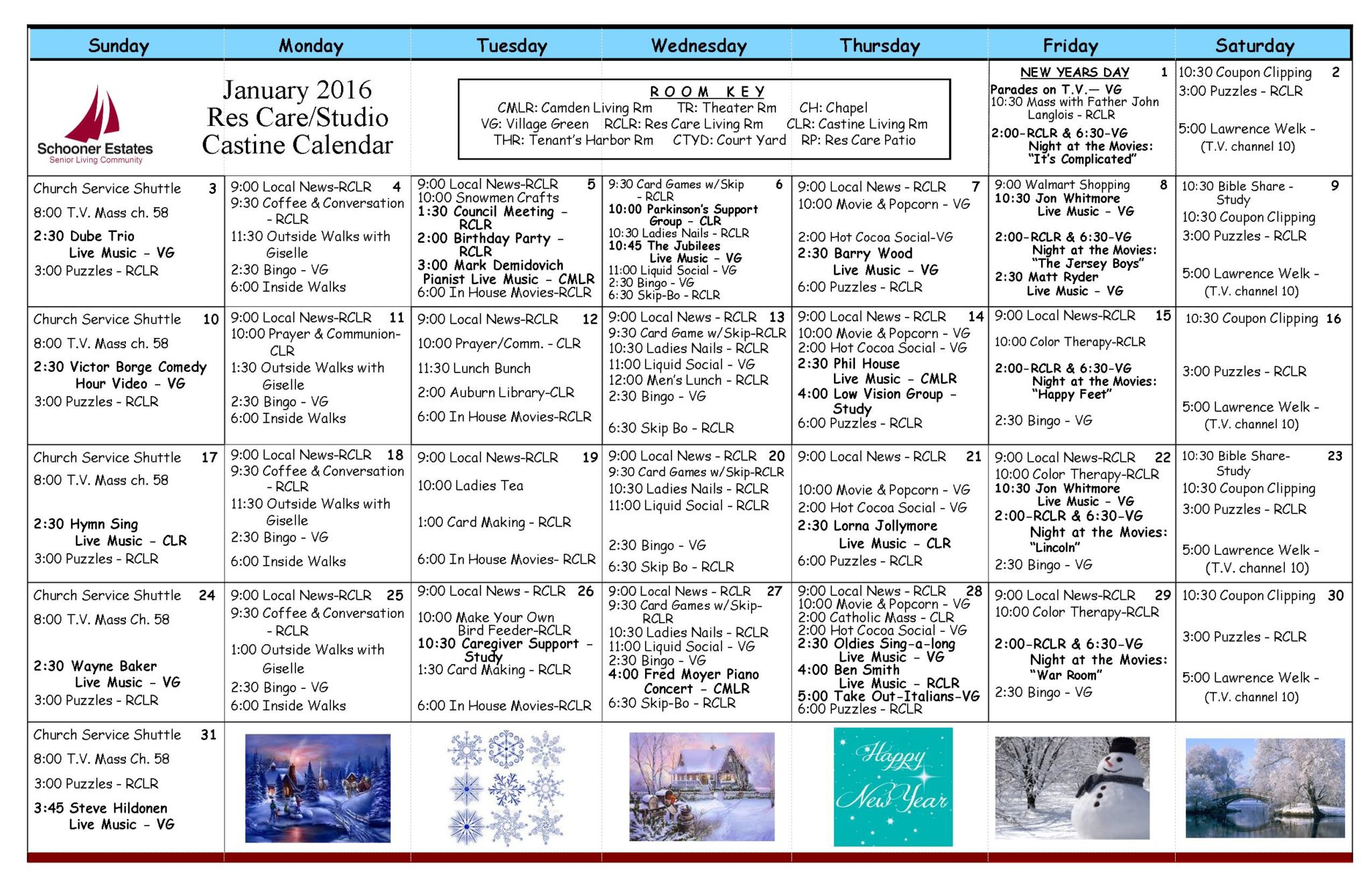 January 2016 Assisted Living and Residential Care Activity Calendar