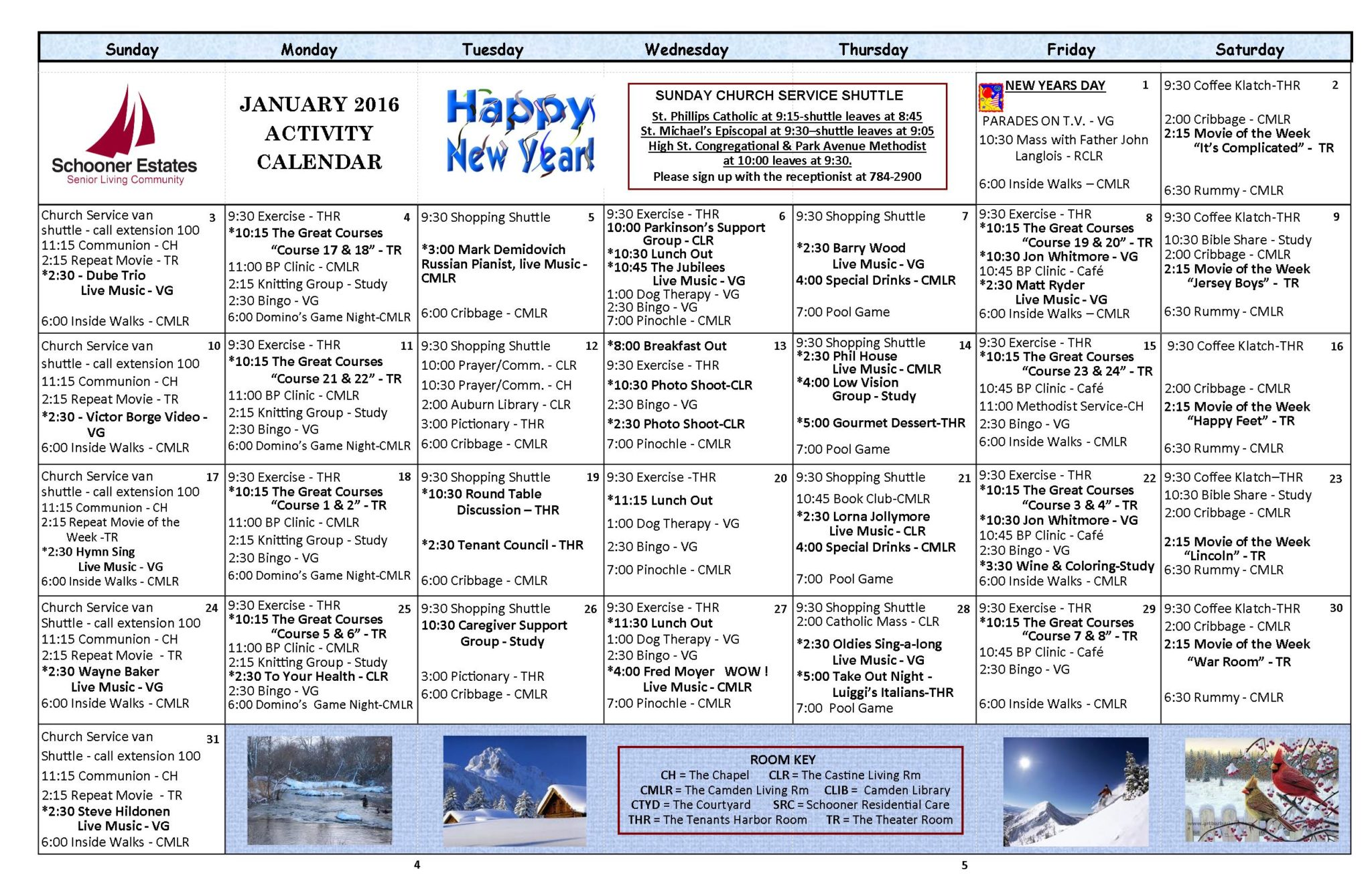 January 2016 Independent Living Activity Calendar