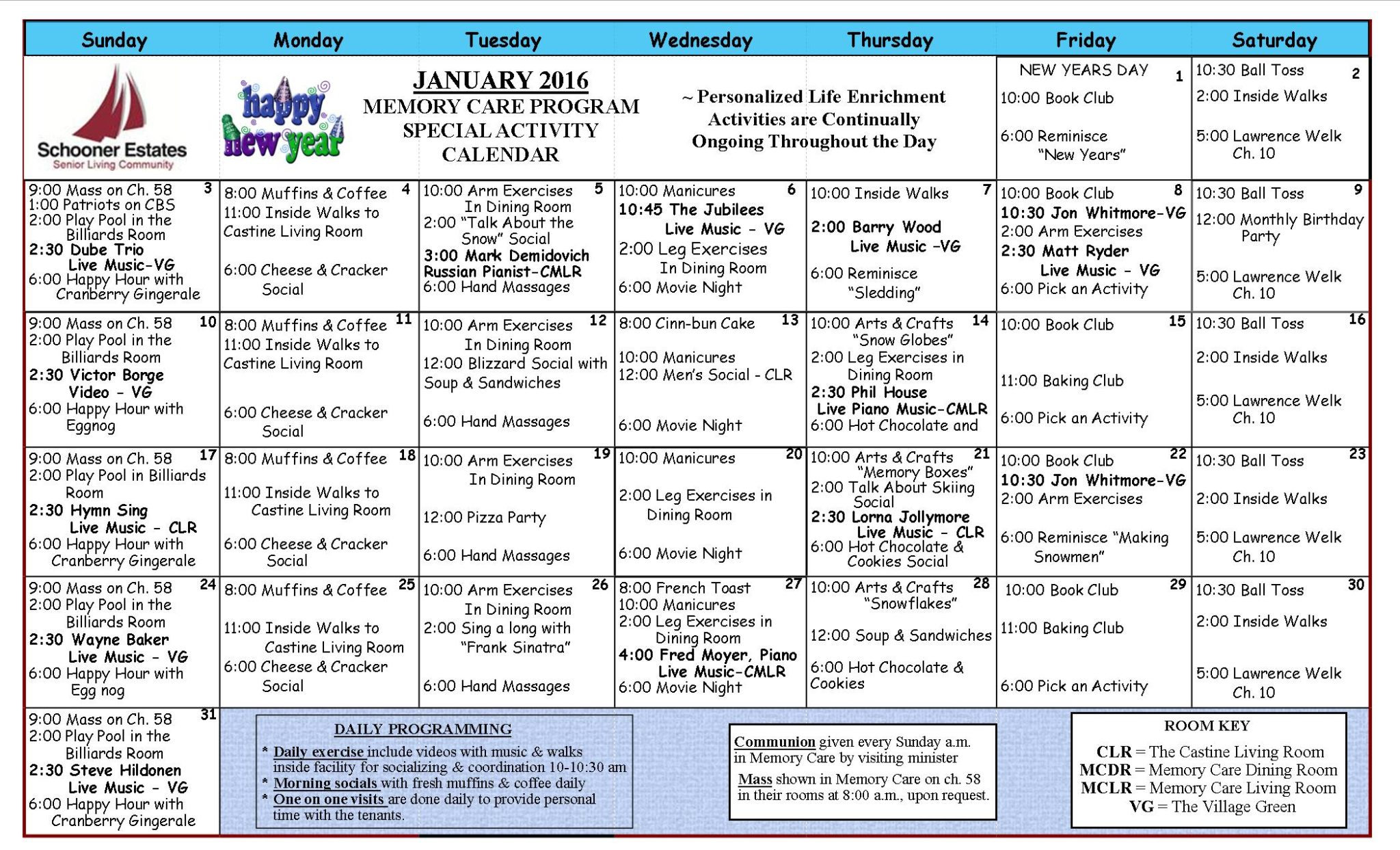 January 2016 Memory Care Activity Calendar