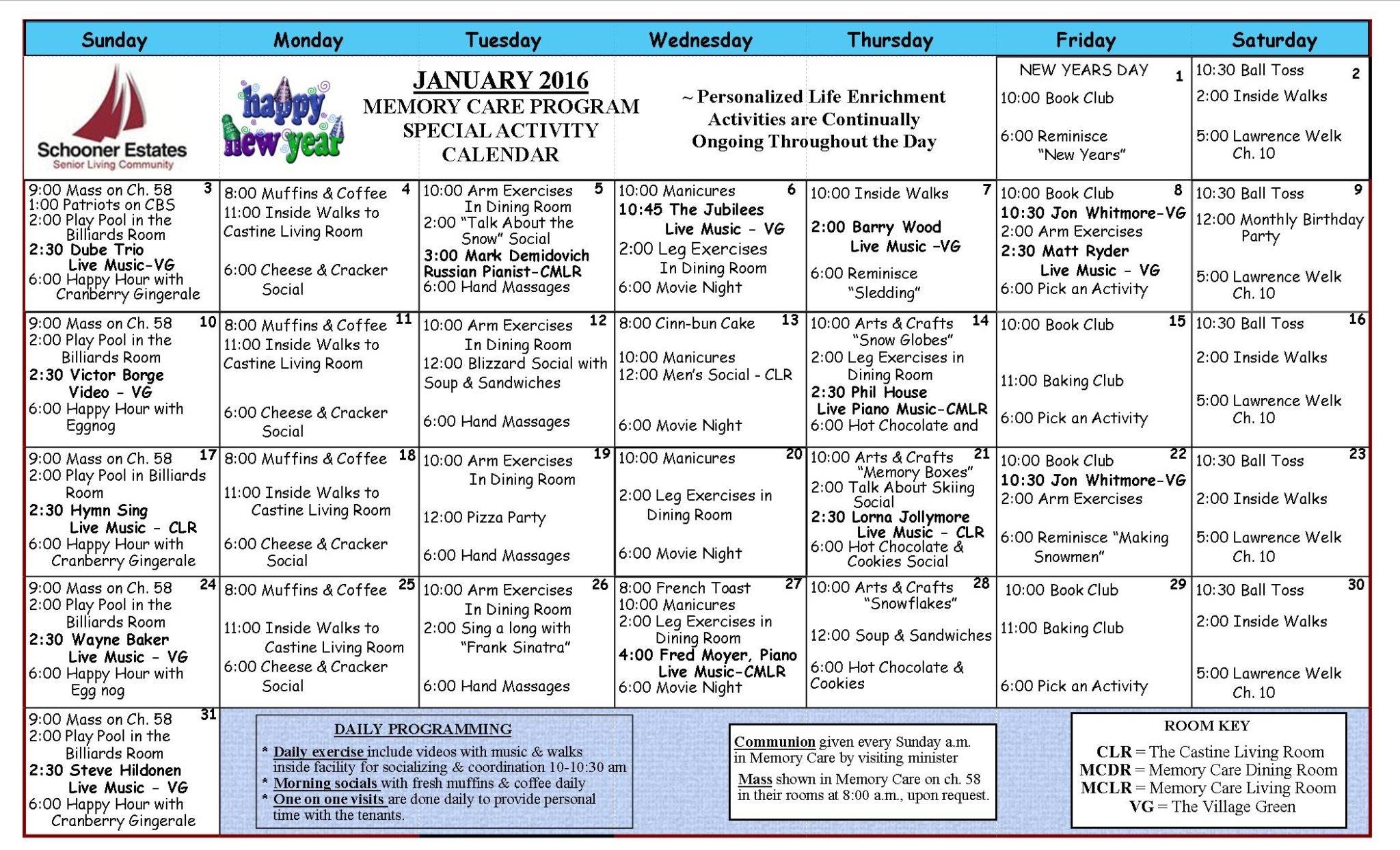 January 2016 Memory Care Activity Calendar