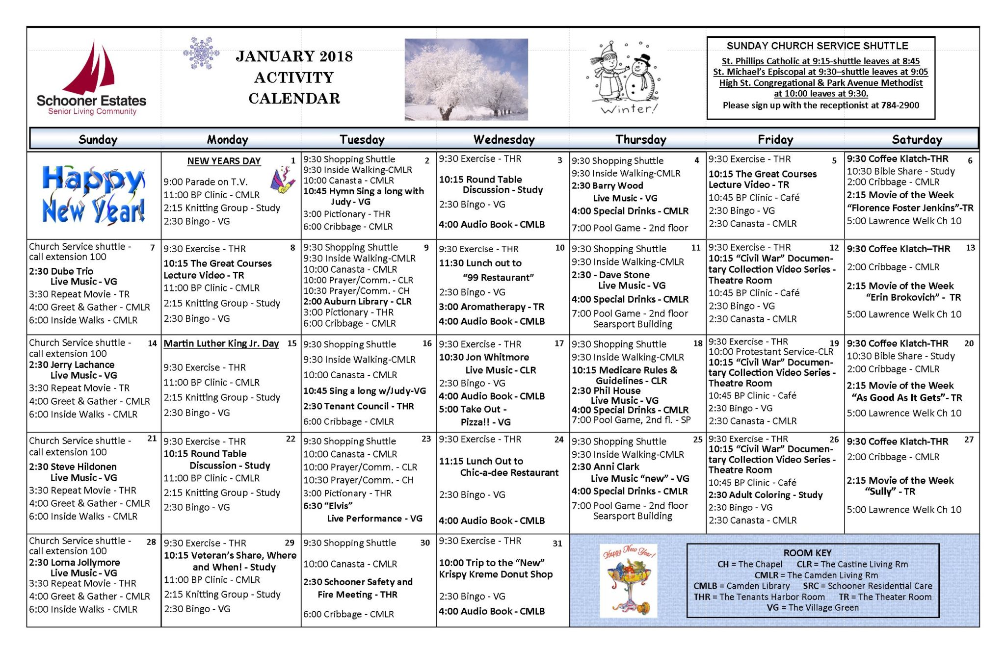 Calendar Activities 2018 : January schooner estates activity calendars