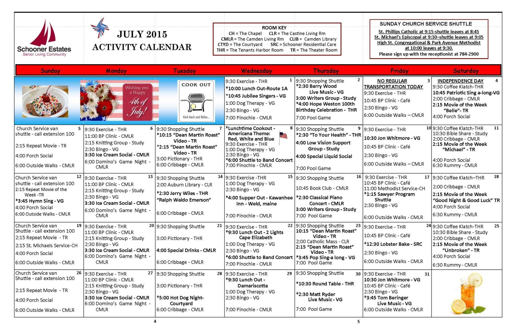 July 2015 Independent Living Activity Calendar