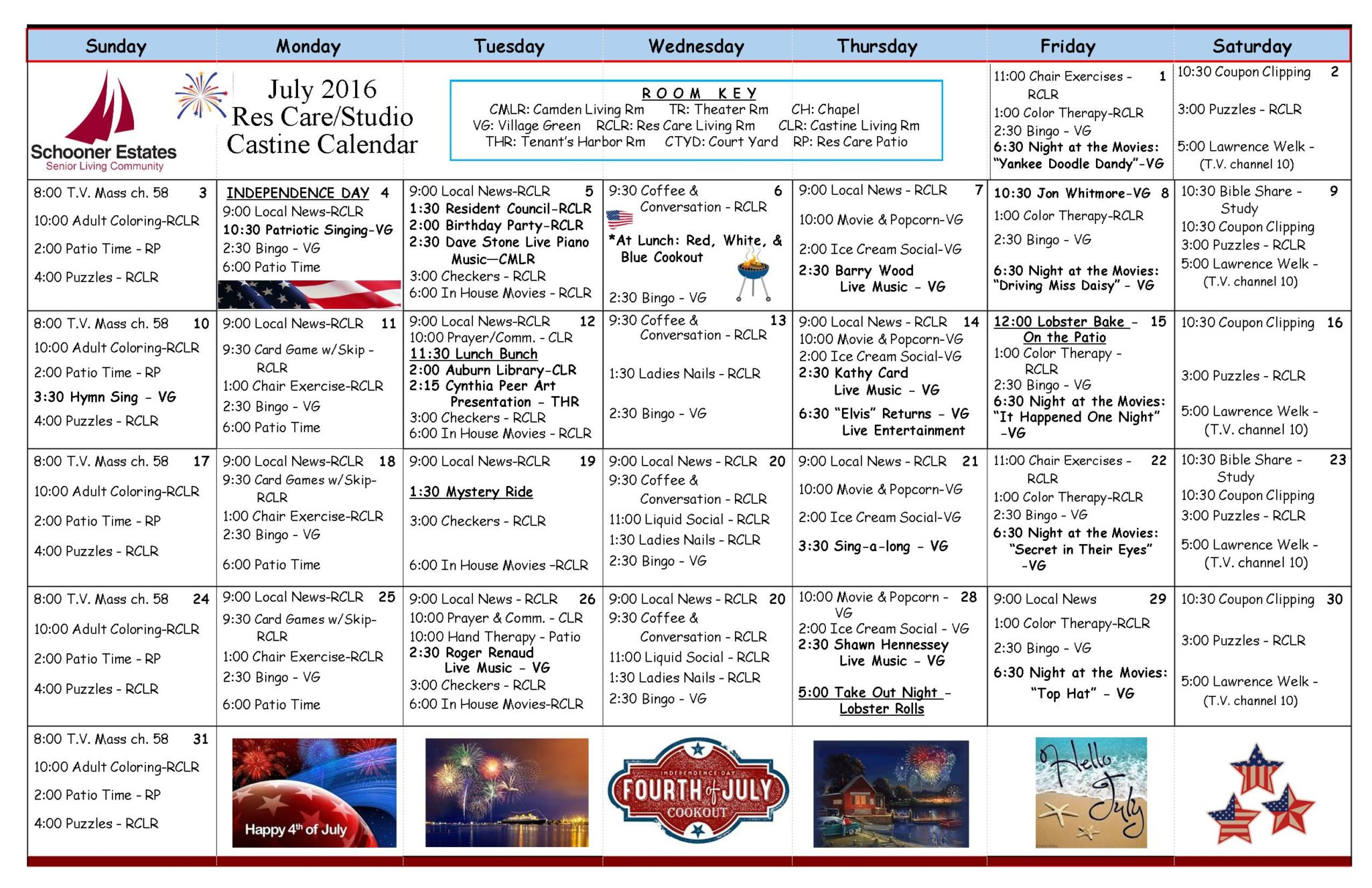 July 2016 Assisted Living and Residential Care Activity Calendar