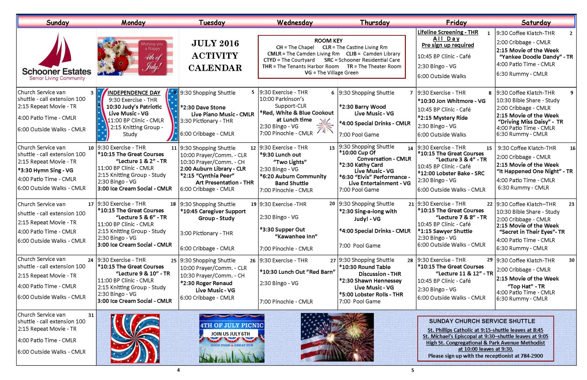 July 2016 Independent Living Activity Calendar
