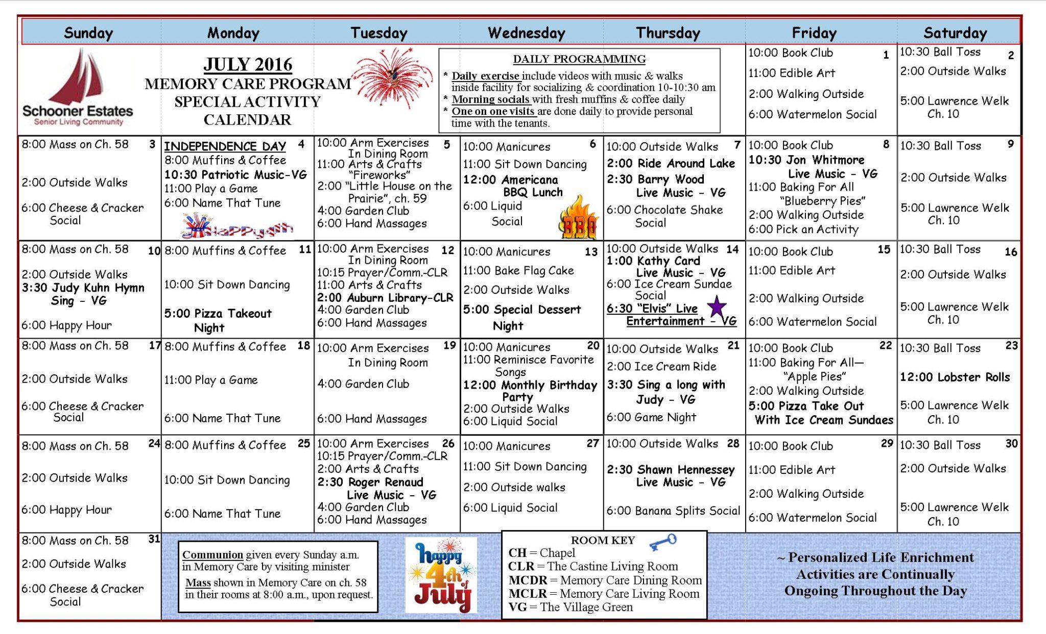 July 2016 Memory Care Calendar