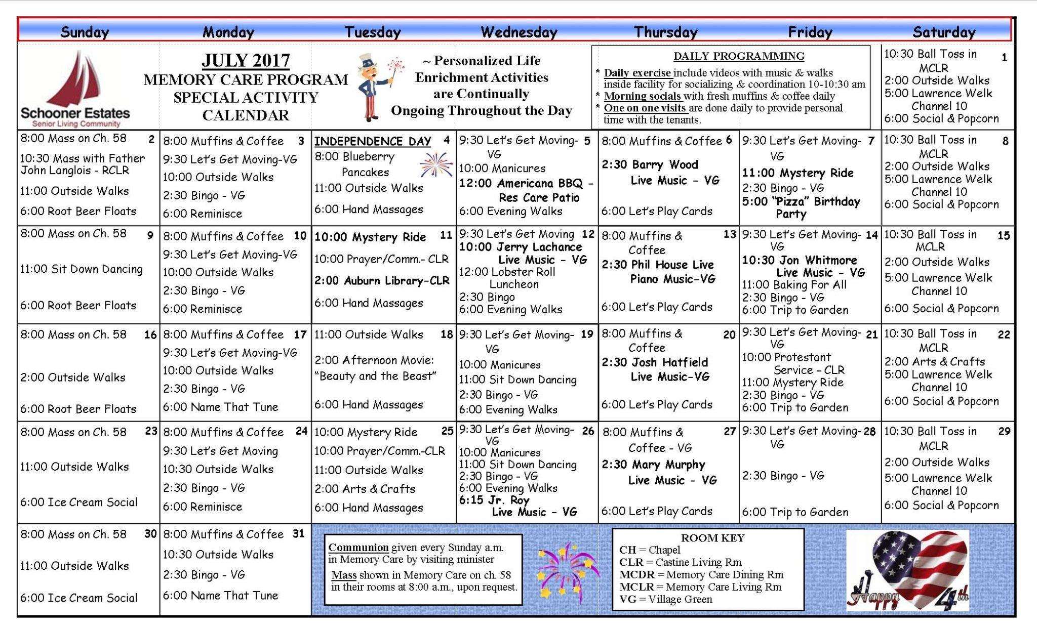 July 2017 Schooner Estates Activity Calendars