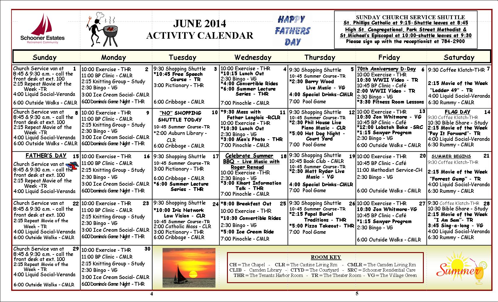 June 2014 Activity Calender