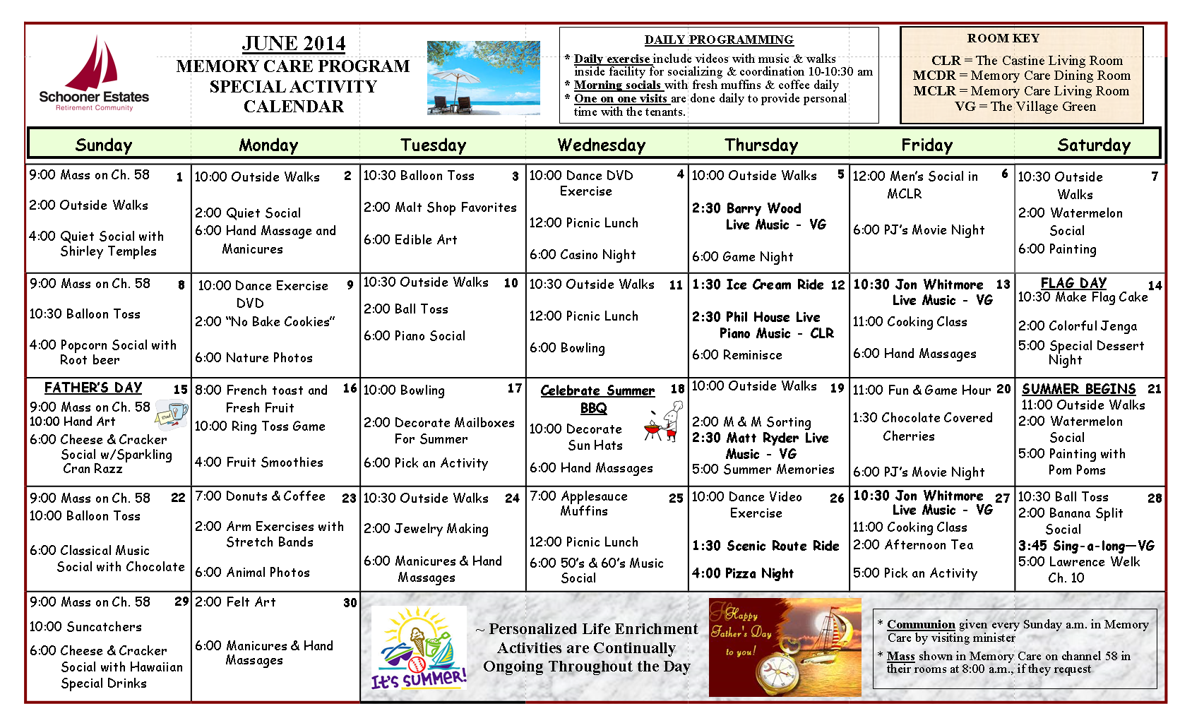 June 2014 Memory Care Activity Claendar